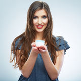Portrait of young smiling woman hold white paper ship. Female m Stock Photography