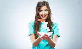 Portrait of young smiling woman hold white paper s Royalty Free Stock Image