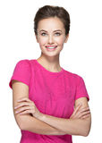 Portrait of  young smiling  woman looking up Royalty Free Stock Photography