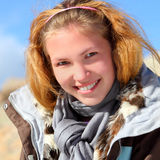 Portrait of young smiling woman outdoor Royalty Free Stock Photo