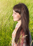 Portrait of a young smiling woman. Outdoors Stock Photo