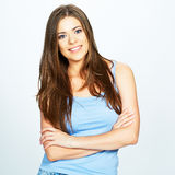 Portrait of young smiling woman  over white Stock Photos