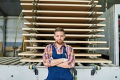Smiling Factory Worker Posing in Workshop stock photos