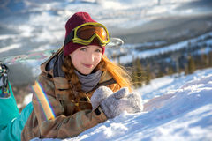 Portrait of young snowboarder girl Stock Photo