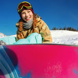 Portrait of young snowboarder girl Royalty Free Stock Photos