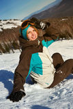 Portrait of young snowboarder girl Stock Image