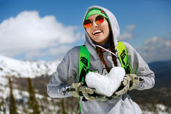 Portrait of young snowboarder girl Stock Photography