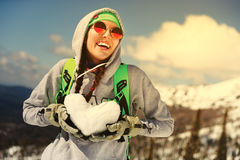 Portrait of young snowboarder girl Royalty Free Stock Image