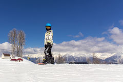 Portrait of young snowboarder Royalty Free Stock Image