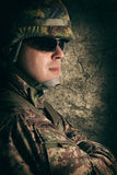 Portrait of young soldier Stock Photos