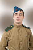 Portrait of a young Soviet soldier, ww2. World war two Royalty Free Stock Photos