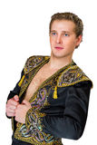 Portrait of a young Spanish men in  beautiful jacket Royalty Free Stock Photos