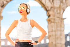 Portrait of a young sports woman outdoors Royalty Free Stock Image