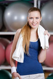 Portrait of a young sportswoman with towel Royalty Free Stock Images