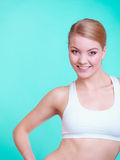 Portrait of young sporty woman fit fitness blond girl Stock Photo