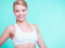 Portrait of young sporty woman fit fitness blond girl Royalty Free Stock Photography