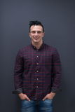 Portrait of young startup business man in plaid shirt Stock Images