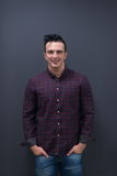 Portrait of young startup business man in plaid shirt Royalty Free Stock Images