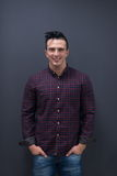 Portrait of young startup business man in plaid shirt Stock Photos