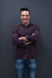 Portrait of young startup business man in plaid shirt Stock Photo
