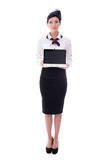 Portrait of young stewardess holding laptop with blank screen is Stock Images