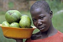 Portrait of young girl, street vendor, Uganda stock image
