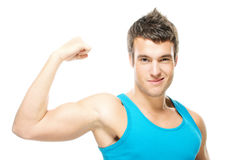 Portrait of young strong man Stock Images