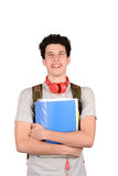 Portrait of young student holding notebook. Isolated white background Royalty Free Stock Photos