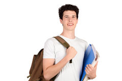 Portrait of young student holding notebook. Isolated white background Stock Photography