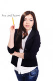 Portrait of  young Student with pencil Royalty Free Stock Photo