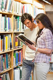 Portrait of young students looking at a book. In a library Royalty Free Stock Images
