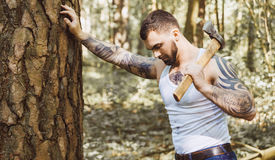 Portrait of young stylish lumberjack Royalty Free Stock Images