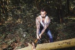 Portrait of young stylish lumberjack Stock Photo