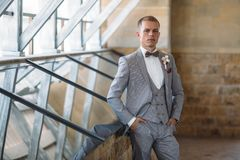 Portrait of a young stylish man in a classic business suit in gray with a white shirt and a bow tie. Young guy. Businessman. The concept of beautiful men`s Royalty Free Stock Photography