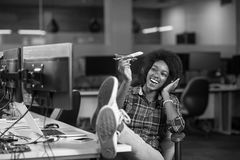 Portrait of a young successful African-American woman in modern Royalty Free Stock Photography