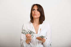 Portrait of young successful business woman over white backgroun Royalty Free Stock Photo