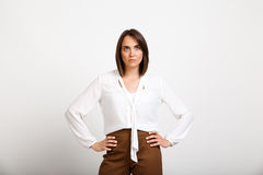 Portrait of young successful business woman over white backgroun Royalty Free Stock Photos