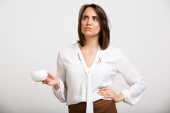 Portrait of young successful business woman over white backgroun Stock Images