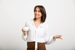 Portrait of young successful business woman over white backgroun Royalty Free Stock Image