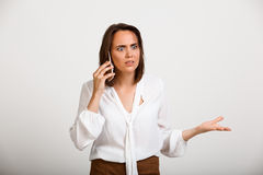 Portrait of young successful business woman over white backgroun Royalty Free Stock Photography