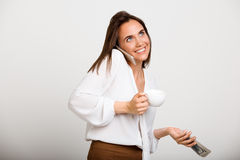 Portrait of young successful business woman over white backgroun Royalty Free Stock Images