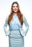 Portrait of young successful business woman. White background Royalty Free Stock Photo
