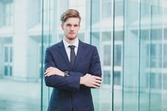 Portrait of young successful businessman, career opportunity royalty free stock photography