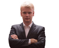 Portrait of young successful confident businessman arms crossed, isolated Royalty Free Stock Images