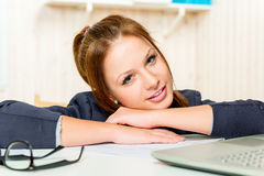 Portrait of a young successful manager at the desk Royalty Free Stock Photo