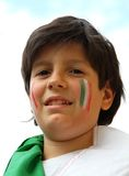 Portrait  of a young supporter before the football match of the Stock Photography