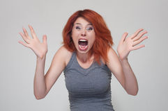 Portrait of young surprised girl Stock Images