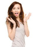 Portrait of a young surprised woman Stock Photography