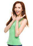 Portrait of a young surprised woman Royalty Free Stock Photo