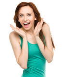 Portrait of a young surprised woman Royalty Free Stock Photos
